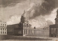 A View of the Royal Hospital at Greenwich when on Fire on the Morning of January 2d. 1779